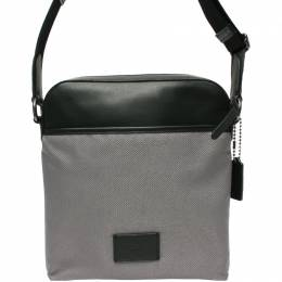 Coach Gray Signature PVC and Leather Crossbody Bag 219291