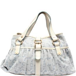 Celine Light Blue PVC Leather Macadam Handbag 218837