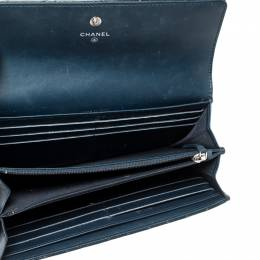Chanel Navy Blue Quilted Patent Leather CC Gusset Flap Wallet 218544