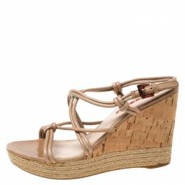 Prada Sport Beige Leather Strappy Cork Wedge Espadrille Platform Sandals Size 37.5 212840