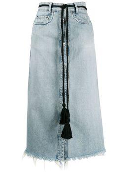 Miu Miu - tassel belt denim midi skirt 9359VPX9550069600000