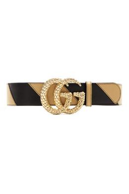 Бежево-черный ремень с пряжкой GG Gucci 470147874
