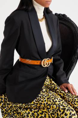 Черно-коричневый ремень с пряжкой GG Gucci 470147876