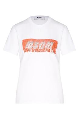 Белая футболка с блестящим логотипом MSGM 296147692