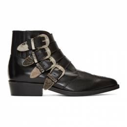 Toga Virilis Black Leather Silver Buckle Boots 192688M22800106GB