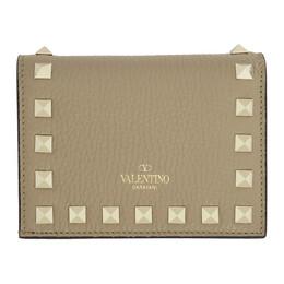 Valentino Tan Valentino Garavani Small Rockstud Wallet 192476F04002401GB