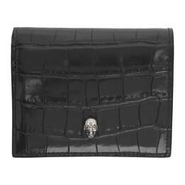 Alexander McQueen Grey Croc Folded Skull Wallet 192259F04001201GB