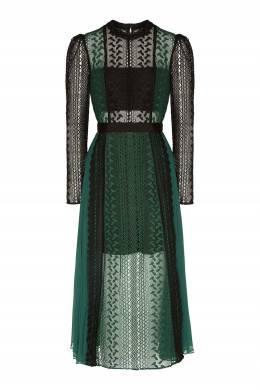 Кружевное платье черного и зеленого цвета Self-portrait 532148148