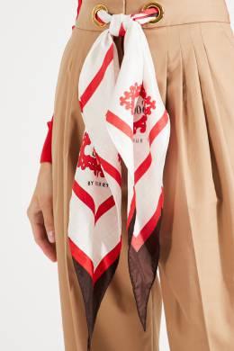 Бежевые брюки с поясом-платком Burberry 10147986