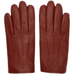 Hugo Red Leather Gloves 192084M13500103GB