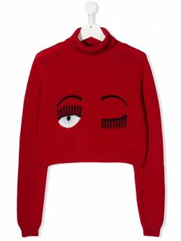 Chiara Ferragni Kids - TEEN signature wink cropped jumper JM669953996860000000