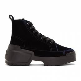 Pierre Hardy Navy Velvet Rangers Boots 192377M25500402GB