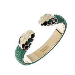 Bvlgari Serpenti Enamel Green Galuchat Skin Gold Plated Leather Open Cuff Bracelet 220305