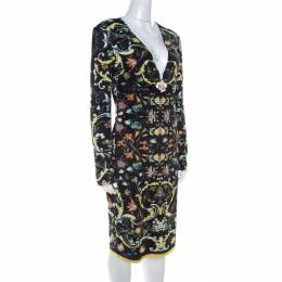 Roberto Cavalli Multicolor Floral Printed Jersey Leather Trim Detail Midi Dress M 219230