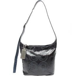 Coach Black Leather Op Art Shoulder Bag 219338