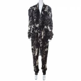 Lanvin Black & White Printed Pussy Bow Elastic Waist Jumpsuit L 219205