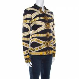 Versace Versus Black and Yellow Logo Printed Cotton Button Front Shirt S 218524