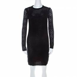 M Missoni Black Perforated Knit Long Sleeve Sheath Dress S 218531