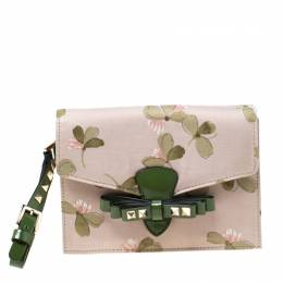 Valentino Green/Beige Floral Print Fabric Studded Bow Wristlet Clutch 217005