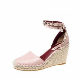 Valentino Pale Pink Leather Rockstud Espadrille Wedge Sandals Size 37 218623
