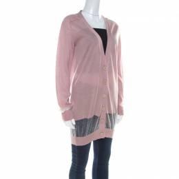 Stella McCartney Dusty Rose Cotton and Cashmere Blend Sheer Paneled Cardigan M 219662