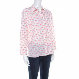 Alice + Olivia White Garden Flamingo Print Sheer Silk Willa Shirt S 218883