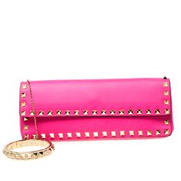 Valentino Neon Pink Leather Rockstud Bracelet Clutch 218885