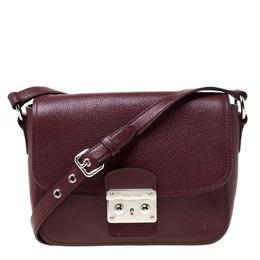 Miu Miu Burgundy Leather Madras Crossbody Bag 217733