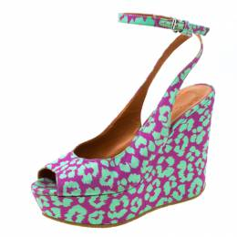 Marc By Marc Jacobs Multicolor Animal Print Fabric Peep Toe Ankle Wrap Platform Wedge Sandals Size 38 219267