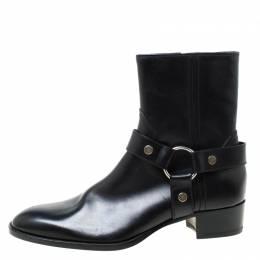 Saint Laurent Black Leather Harness Ankle Boots Size 41 219474