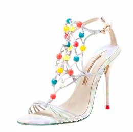 Sophia Webster Multicolor Strappy Leather Arielle Beaded Caged Sandals Size 39.5 219672