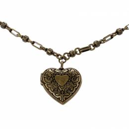 Etro Textured Heart Locket Gold Tone Long Necklace 220584