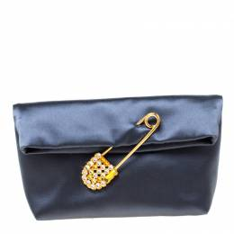 Burberry Navy Blue Satin Crystal Embellished Pin Clutch 218044