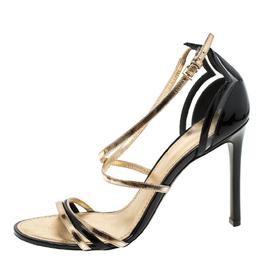 Louis Vuitton Black/Gold Patent Leather Open Toe Ankle Strap Sandals Size 40 219244