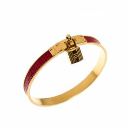 Hermes Kelly Lock Cadena Red Lizard Skin Gold Plated Bangle Bracelet 220800