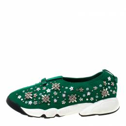 Dior Green Mesh Fusion Crystal Embellished Slip On Sneakers Size 39 219259