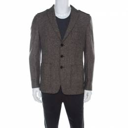 Boss By Hugo Boss Brown Herringbone Wool Regular Fit Jacket L 218875