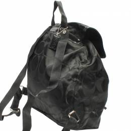 Coach Black Signature Nylon Turnlock Tie Rucksack Backpack 219380