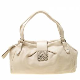 Loewe Off White Leather Logo Shoulder Bag 216981
