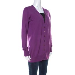 Loro Piana Purple Cashmere Long Cardigan L 219504