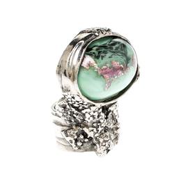 Saint Laurent Paris Arty Green Glass Cabochon Silver Tone Ring Size 49 220729