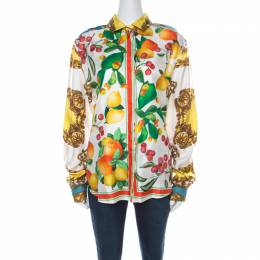D&G Multicolor Abstract Tropical and Baroque Printed Silk Button Front Shirt M Dandg 218032