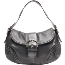 Coach Black Leather Buckle Shoulder Bag 219344