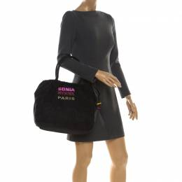 Sonia Rykiel Black Nylon Drawstring Shoulder Bag 217001