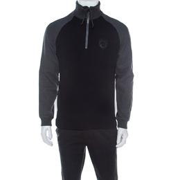 Boss By Hugo Boss Black & Grey Cable Knit Collar Sweatshirt M 218933