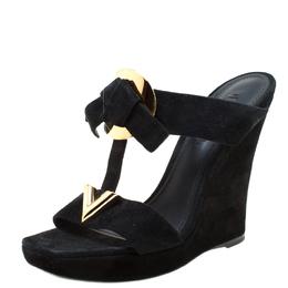 Louis Vuitton Black Suede Double Strap Wedge Platform Sandals Size 37 218023