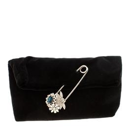 Burberry Black Velvet Crystal Embellished Pin Clutch 218025
