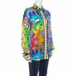 Versace Versus Multicolor Abstract Baroque Printed Silk Satin Shirt M 218028