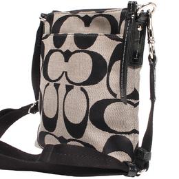 Coach Black/White Signature Canvas Swingpack Crossbody Bag 219372