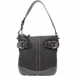 Coach Black Signature Canvas And Leather Crossbody Bag 219419